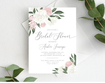 Bridal Shower Invitation Template, Editable Invite Template, Instant Download, Greenery and Blush Pink Floral, 137V11