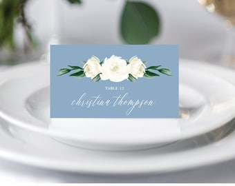 Wedding Place Cards Template, Escort Cards, Dusty Blue Greenery White Floral, Fully Editable Colors and Wording with Templett, 139V4