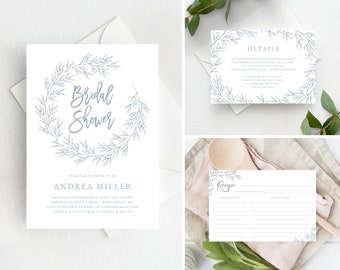 Bridal Shower Invitation Set Template with Recipe Card and Details Card, Edit Colors and Text with Templett, Olivia in Dusty Blue