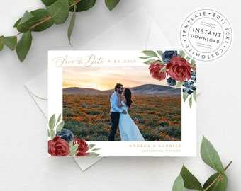 Photo Save the Date Template, Burgundy and Navy Floral, Fully Editable Colors and Wording