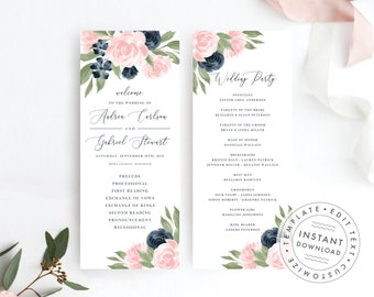 Navy and Blush Pink Floral Wedding Program Template 137V1WED