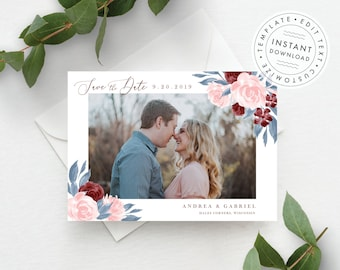Photo Save the Date Template, Dusty Blue, Blush Pink, and Burgundy Floral, Fully Editable Colors and Wording
