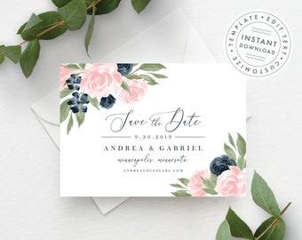 Floral Save the Date Template 137V1WED