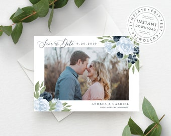 Photo Save the Date Template, Dusty Blue, and Navy Floral, Fully Editable Colors and Wording, 137V7