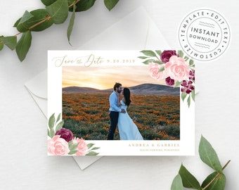 Photo Save the Date Template, Blush Pink and Burgundy Floral, Fully Editable Colors and Wording