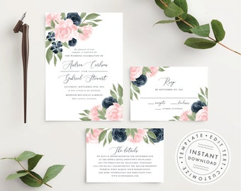 Wedding Invitation Template, Wedding Invitations, Wedding Invitation Set, Wedding Invitation Suite, Navy and Blush Pink Floral  137V1WED