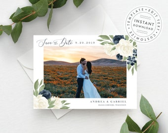 Photo Save the Date Template, White and Navy Floral, Fully Editable Colors and Wording, Add your own photo, Download and Print Today