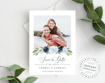 Photo Save the Date Template, Dusty Blue, and Navy Floral, Fully Editable Colors and Wording