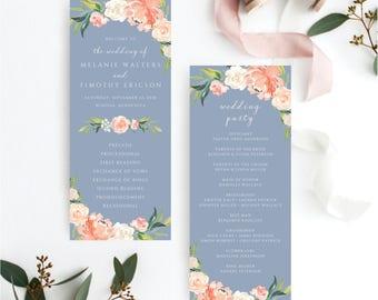 Printable Wedding Program Template, Wedding Program Template, Wedding Programs, Ceremony Program, Ceremony Programs, Dusty Blue Floral, 109