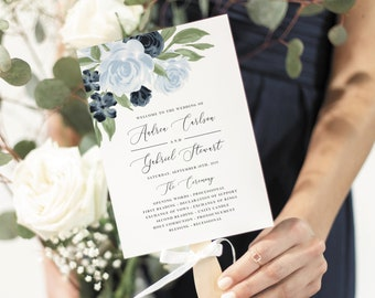 Wedding Program Fan Template with Dusty Blue and Navy Floral Design, Fully Editable Colors and Wording with Templett, 137V7