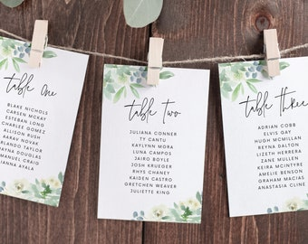 Wedding Seating Chart Cards Template with Greenery Design, Fully Editable Colors and Wording with Templett, 134v3