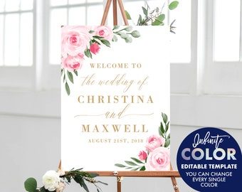 Pink Floral Wedding Welcome Sign Template, Colors and Text Fully Editable, Featuring Blush Floral Design with Gold Text, Edit with Templett