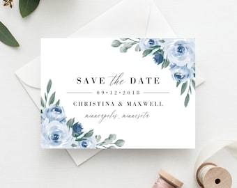 Save the Date Template, Save the Date Printable, Dusty Blue Floral, Wedding Invitation Template, Instant Download, Templett, 118