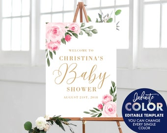 Baby Shower Sign Template, Girl, Colors and Text Fully Editable, Featuring Blush Floral Design with Gold Text, Edit with Templett