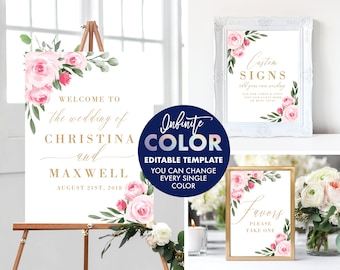 Welcome Wedding Signs Template Bundle, Colors and Text Fully Editable, Featuring Blush Floral Design with Gold Text, Edit with Templett