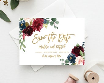 save the date template save the date cards marsala save the etsy