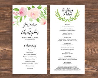 Printable Wedding Invitation Template Set Floral Wedding - Floral wedding program templates