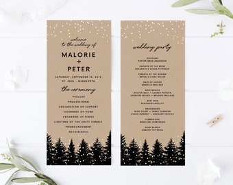 winter wedding programs etsy