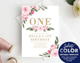 First Birthday Invitation Girl Template, Blush Pink Floral and Gold, Colors and Text Fully Editable Invite, Edit with Templett