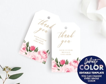 Thank You Tags Template, Favor Tags, Gift Tags, Thank You Label, Colors and Text Fully Editable, Blush Floral and Gold, Edit with Templett