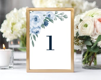 Table Number Template, Table Numbers, Floral Dusty Blue, Printable Table Numbers, Table Numbers 1-20, Instant Download, Templett, 118
