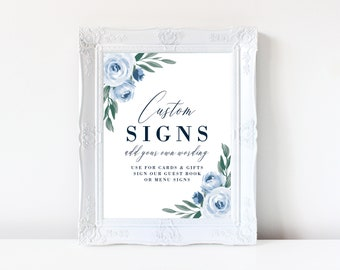 Wedding Sign Template, Printable Wedding Signs, Dusty Blue Floral, Cards and Gifts, Reserved, Guest Book, Instant Download, Templett, 118