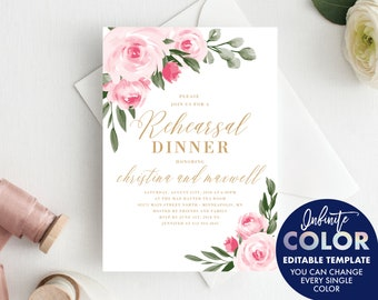 Rehearsal Dinner Invitation Template, Blush Floral and Gold, Colors and Text Fully Editable Invite, Edit with Templett