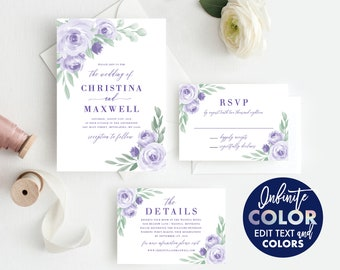 Instant Download, Wedding Invitation Template, Colors and Text Fully Editable, Purple Lavender Floral, Edit with Templett, 125