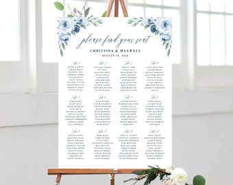 Wedding Seating Chart, Printable, Dusty Blue Floral, Seating Chart Template, Seating Board, Wedding Sign, Instant Download, Templett, 118