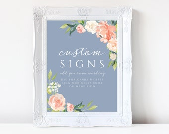 Wedding Signs Template Dusty Blue Peach Pink Floral, Guest Book Sign, Gifts and Cards, Edit with Templett 109