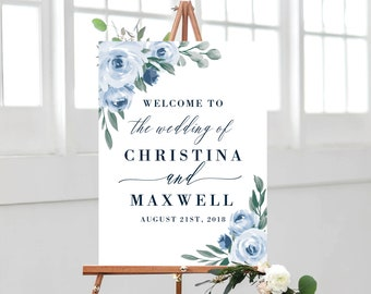 Dusty Blue Wedding Welcome Sign Template, Printable Welcome Sign, Wedding Welcome Signs, Instant Download, Welcome Signs, Templett, 118