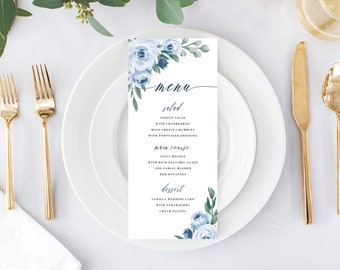Wedding Menu Printable Template, Printable Menu, Menu Template, Dinner Menu, Dusty Blue Floral, Instant Download, Edit with Templett, 118