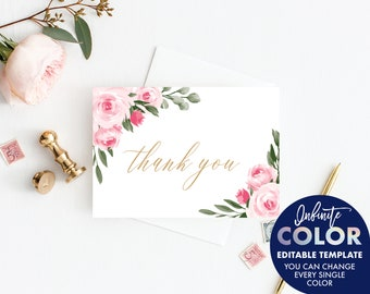 Thank You Cards Wedding Template, Colors and Text Fully Editable, Blush Floral and Gold, Edit with Templett
