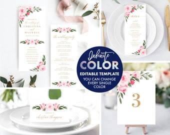Wedding Program Menu Place Cards Table Numbers Template Bundle, Colors and Text Fully Editable, Featuring Blush Florals with Gold Text