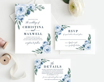 Wedding Invitation Template, Colors and Text Fully Editable, Dusty Blue Floral, Instant Download, Templett, 118