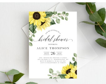 Sunflower Bridal Shower Invitation Template, Rustic Sunflowers, Instant Download, 144