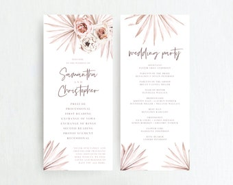 Wedding Program Template, Printable Ceremony Programs, Boho Pink Floral Palms, Blush Pink Palm Leaves, DIY Editable Template, 142V1