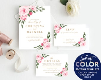 Wedding Invitation Template and Thank You Card, Colors and Text Fully Editable, Blush Floral and Gold, Edit with Templett