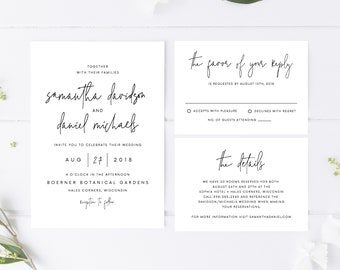 Wedding Invitation Template, Printable Wedding Invitations, Invitation Suite, Templett 134v7