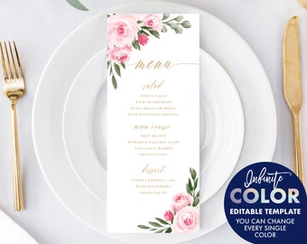 Wedding Menu Cards Template, Colors and Text Fully Editable, Blush Floral and Gold, Edit with Templett