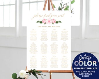 Wedding Seating Chart Template, Colors and Text Fully Editable, Featuring Blush Floral Design with Gold Text, Edit with Templett