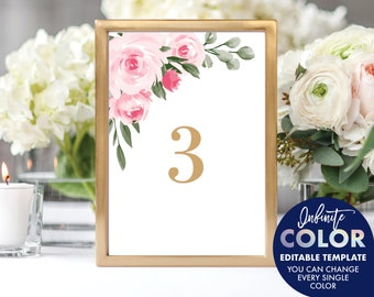 Table Number Template, Colors and Text Fully Editable, Blush Floral and Gold, Edit with Templett