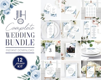 Wedding Invitation Template Bundle Kit, Dusty Blue Floral Wedding Invitation Set, Save the Date Template, Instant Download, Templett, 118