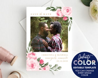 Save the Date Template, Add your own Engagement Photo, Colors and Text Fully Editable, Blush Floral and Gold, Edit with Templett