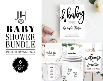 Baby Shower Invitation Template, Instant Download, Simple Invite, Black and White, Oh Baby, Baby Shower Invite