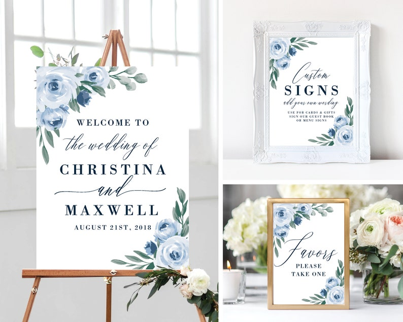 Welcome to Our Wedding Sign Template Bundle Printable image 0