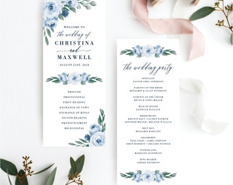 Wedding Programs Template, Wedding Program, Colors and Text Fully Editable, Dusty Blue Floral and Navy, Edit with Templett, 118