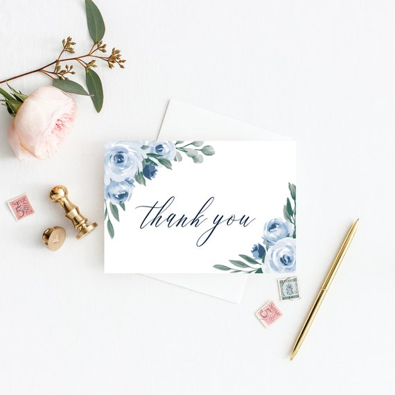 photo relating to Printable Thank You Card Templates named Thank By yourself Card Template, Marriage Thank Your self Playing cards, Printable Thank Your self Playing cards, Dusty Blue Floral Marriage ceremony, Immediate Down load, Templett, 118
