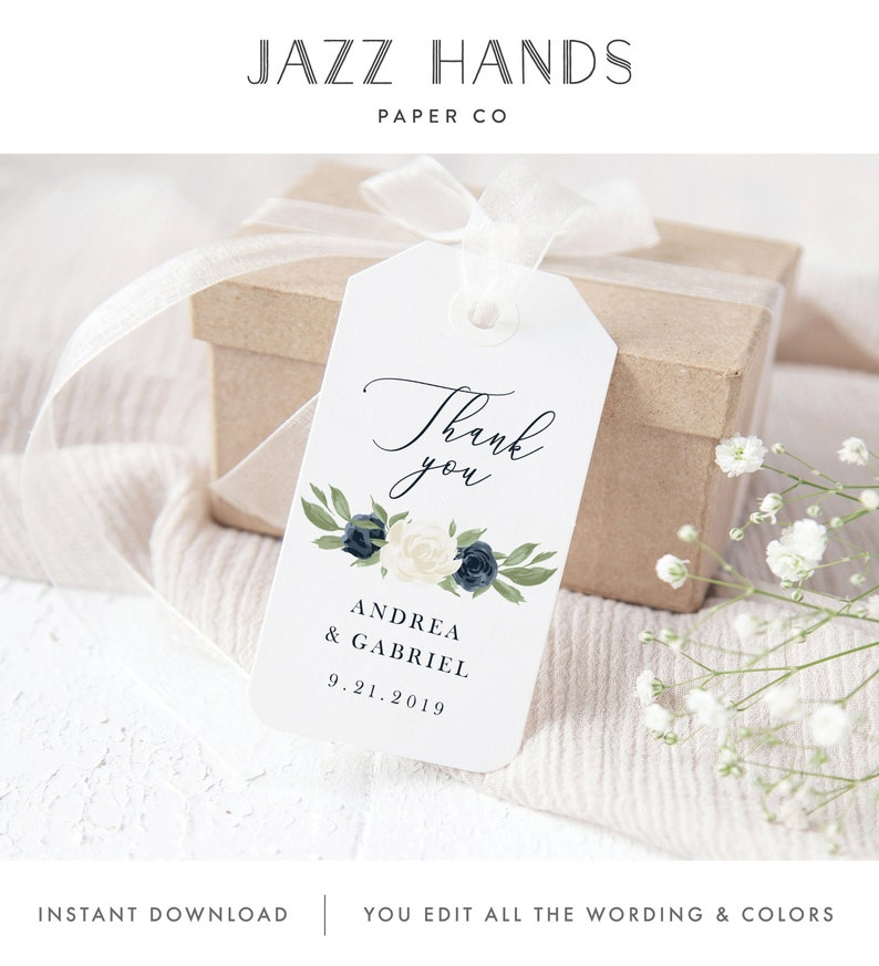 Wedding Gift Tag Template Thank You Gift Favor Tags Bridal image 0