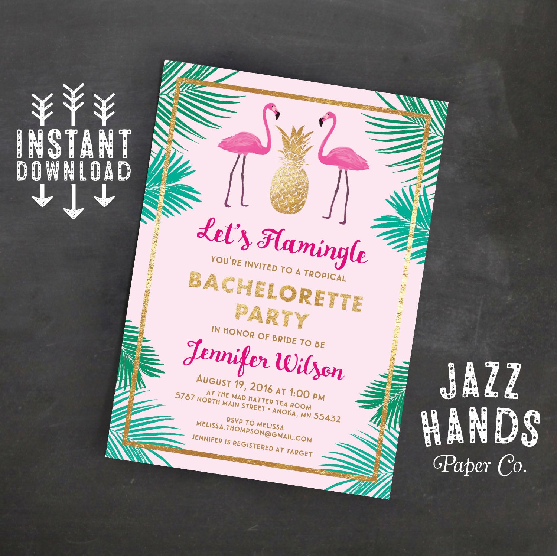 Lets Flamingle Printable Bachelorette Invitation Template